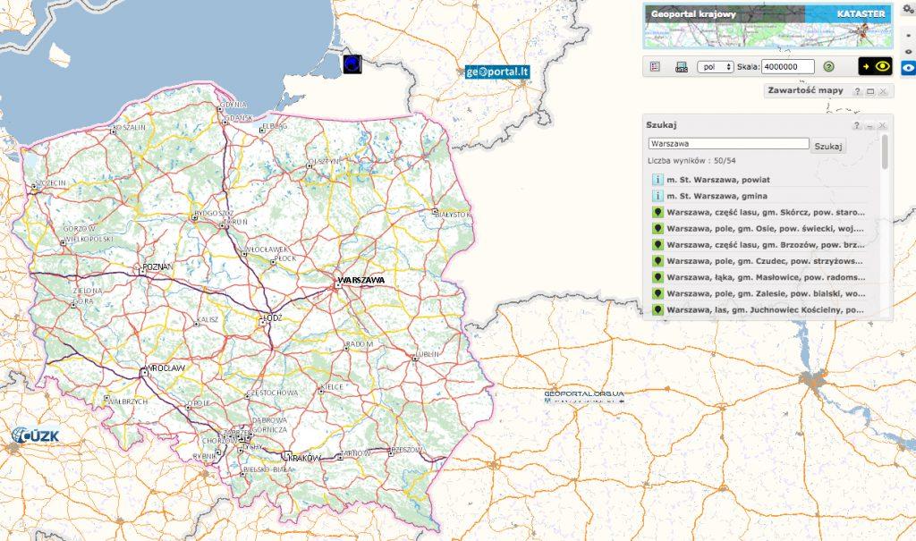 Geoportal - wyszukiwanie działki na mapie.