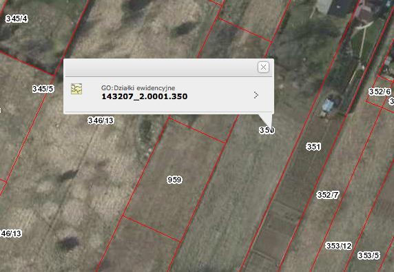 Numer działki ewidencyjnej - Geoportal - krok 2.