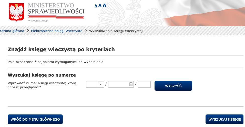 Wyszukiwarka ksiąg wieczystych - system EKW