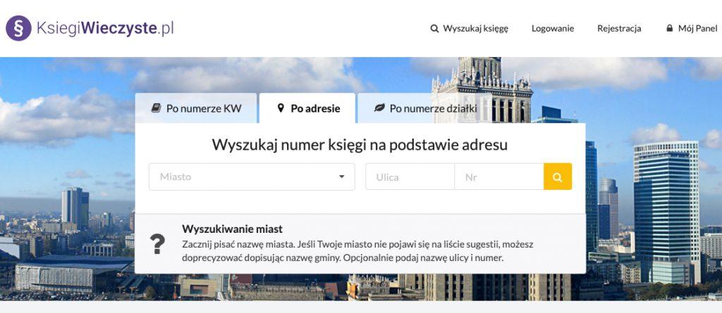 Ksiegiwieczyste.pl - wyszukiwarka numerów KW po adresie